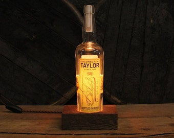 Colonel E.H. Taylor Cured Oak Lamp - Features Reclaimed Wood Base, Edison Bulb, Twisted Cloth Wire, Upcycled Light, Father's Day Gift