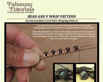 TUTORIAL: Wire Wrapping Pattern, Bead and V Wrap Design. Copper Wire Jewelry Instruction, Intermediate Level PDF Instant Download Lesson