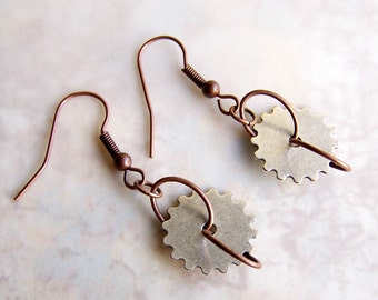 Silver and Copper Steampunk Earrings - Silver Gear Earrings hang from copper wire rings - Steampunk Jewelry