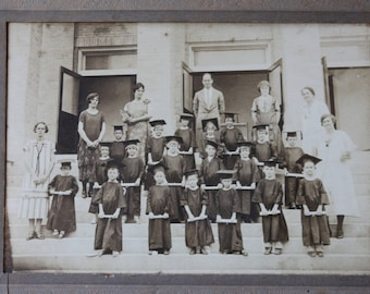 Vintage School Kindergarten or Pre-School Graduation Photo, Antique Black & White Photograph
