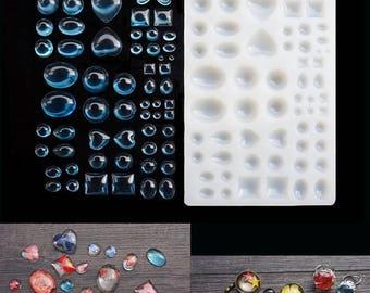 1pcs Gem Silicone Mold - Resin Cabochon Mold - craft mold,cabochon mold, jewelry mold, food mold, resin mold, clay mold, flexible mold