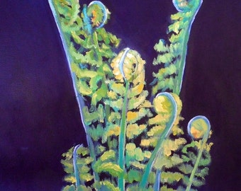 Botanical Print, Fern Giclee Print, Fiddlehead Print, Oil Painting Giclee Print, free shipping, Choose your size, ready to hang