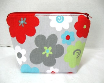 Makeup Bag - Grey Floral Cosmetic Pouch - Floral Zipper Pouch - Grey Red Lime - Flat Bottom Zip Pouch
