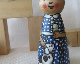 Peg Doll Girl with Puppy -watercolored large size 3.5""