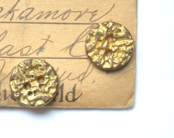 Gold Crush Metal Buttons x 2