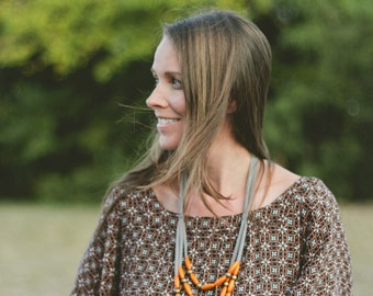 orange tangerine skinny wooden multi layer necklace