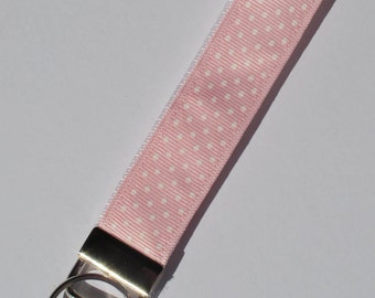 Polka Dot Key Fob, Pink and White, Key Chain, Key Holder