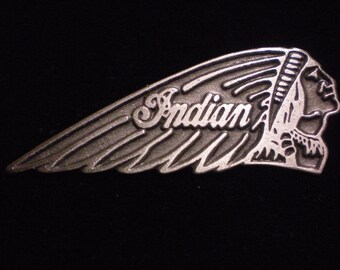 vintage pewter biker pin indian motorcycle