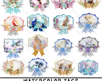 Tag Clipart, Label Clipart, Tag Clip Art, Label Clip Art, Watercolor Tags, Watercolor Labels, Scrapbook Tags, Watercolor Clipart