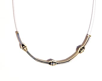 Necklace with silver plated Beads and Tubes