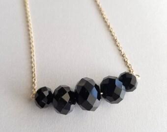 Black Chunky Beaded Necklace