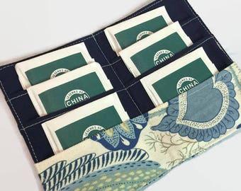 Tea Bag Holder,Tea Bag Holder, Tea Bag Case, Blue Floral Wallet,