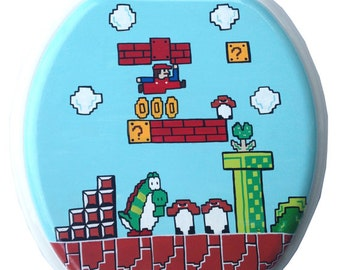 Mario Hand Painted Toilet Seat Nintendo 8 Bit Geekery Video Game Arcade Dad Grad Gift Bathroom Wall Art Decor Remodel Pixelated Pixels