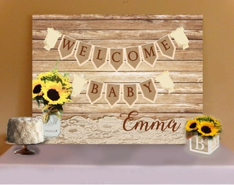 RUSTIC TABLE BACKDROP- Sunflower Rustic Baby Shower Buffet or Sweets Table Backdrop