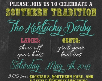 Kentucky Derby Party Invitations Preakness Stakes Belmont Stakes Chalkboard Style Printed or Digital Available