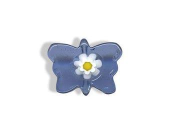 cornflower blue butterfly murano glass bead