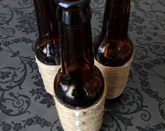 Twine Wrapped, Rustic, Brown Bottle with Pearls