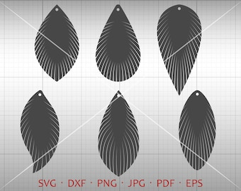 Feather Fringe Earring SVG,  Tear Drop SVG, Pendant svg, Vector DXF, Leather Earring Jewelry Laser Cut Template Commercial Use
