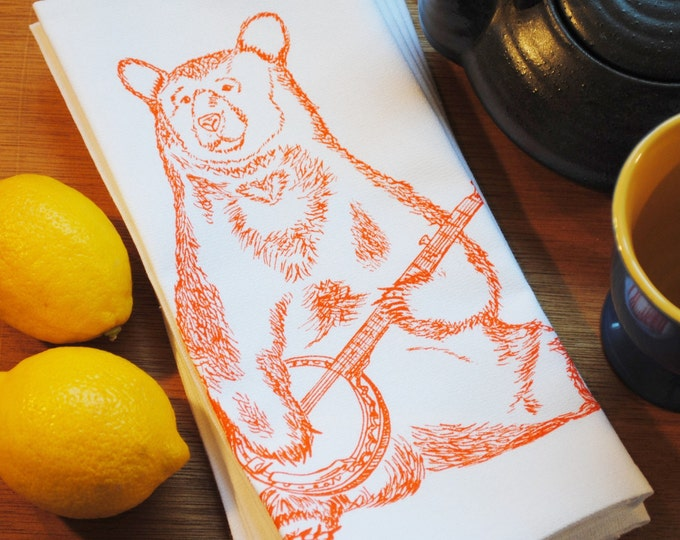 Bear Table Napkins - Cotton Napkins - Whimsical Print of a Bear Playing Banjo - Hand Screen Printed - Eco Friendly - Washable Reusable
