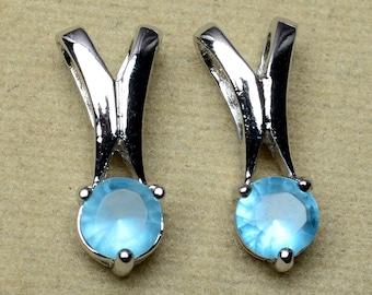 925 Sterling Silver Blue Topaz Gemstone 16.6 mm 2 gm Pendant Pair 2 Pcs  SEP078