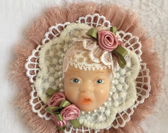 Shabby chic brooch art jewllery baby face doll
