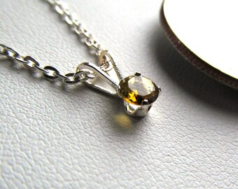 4mm Genuine Tourmaline Faceted Gemstone in Sterling Silver with 18 Inch Chain Your Choice of Seven Colors