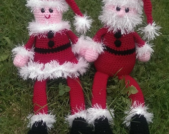 Crochet Pattern, Mother and Father Christmas, PDF with tutorials, UK terms