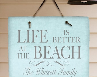 Personalized Life is Better At The Beach Lake Cabin Mountains Any Message Vacation Home Hostess Gift
