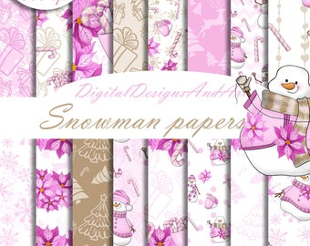 Snowman digital paper, Winter digital paper, Pink winter paper, Pink christmas pattern, Snowflakes pattern, Digital background, candy cane