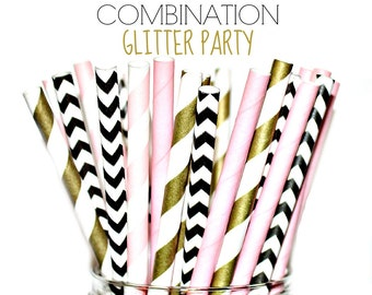 Pink, Gold, Black- Paper Straws, Multipack, Combination, Pink, Gold, White, Damask, Blush, Polka Dots, Baby Shower, Birthday Party 24 Straws