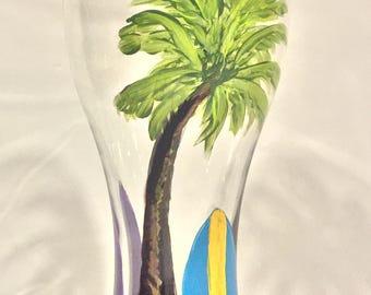 Beach Beer Glass, Hand Painted Pilsner Beer Glass, Drinkware, Barware, Home Decor, Summer Entertaining, Gift