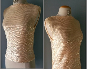 Early 1960s sequined sweater shell.