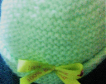 """""""Little beanie with flower color green lime themed Ribbon has message"""" 100% happiness """""""