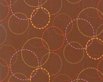 Orange Ring Fabric on Brown - Wing & Leaf by Gina Martin from Moda - Fat Quarter