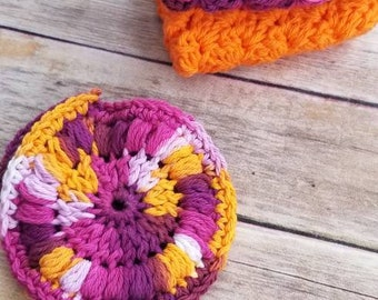 Face scrubbies and wash cloths set, crochet set, gift for her, crochet face scrubbies,  face wash set
