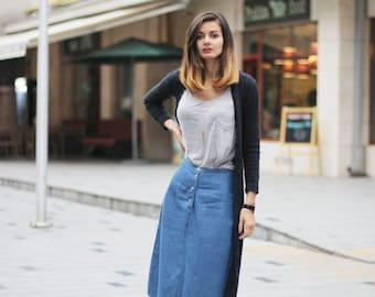 Simple jeans skirt Vintage minimalist skirt Midi skirt Blue jeans over the knee skirt 80's (S/M)Blu