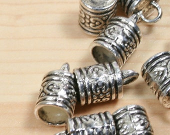 """40% off - 10 Cord end, Larger Sized Zinc  """"pewter,"""" antiqued silver-plated, 11x10mm barrel. Final Sale"""