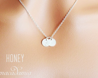 Sterling silver, rose gold filled or gold filled personalized initial necklace. Two 2 initials dainty disc necklace