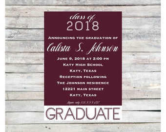 Calista graduation announcement, college graduation announcement, high school graduation, printed graduation announcement, graduation invite