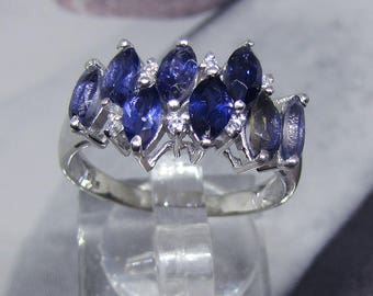"""Design"" silver ring and Iolite (gemstone) size 58"