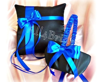 Royal blue and black wedding ring pillow and flower girl basket, wedding ring cushion and basket set.