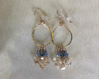 Swarovski Crystal Gold and Blue Dangle Hoop Earrings
