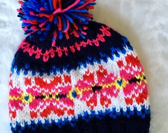 BRIGHT Colorful FAIR ISLE hat, navy, red, hot pink, white, soft cozy pompom beanie, nordic ski hat, original design bobble hat, loopsnswoops