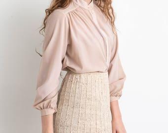 70s Blush Collarless Long Sleeve Button Down Semi Sheer Light Weight Blouse M