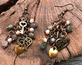 Hearts and keys earrings