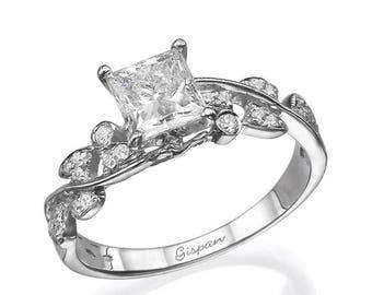 Princess Engagement Ring, White Gold Ring, 1 carat diamond ring, Leaves Ring, Antique Ring, Unique Ring, Promise Ring, Bridal Ring,