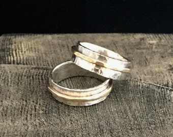Simple Band Ring, Hammered Sterling Silver, Oxidized with Brass Band