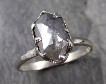 Fancy cut salt and pepper Diamond Solitaire Engagement 14k White Gold Wedding Ring byAngeline 1163