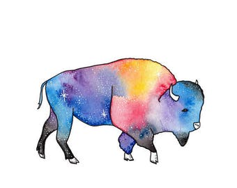 Bison and Galaxy Watercolor and Ink Print (Free U.S. Shipping)