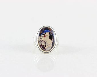 Sterling Silver Acrylic Flapper Girl Ring 7 1/2